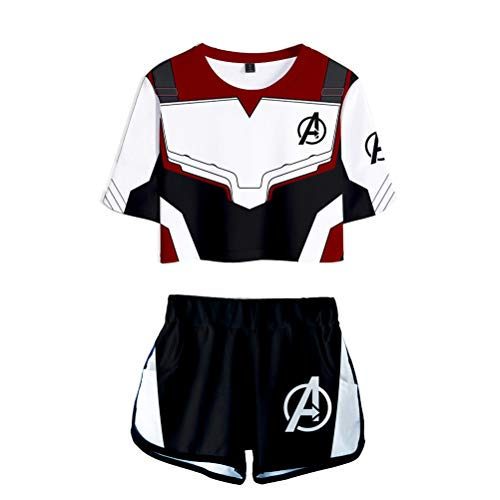 InBest Avengers Endgame Shirt,Avengers Crop Top and Shorts Set Sport T-Shirt with Shorts]()