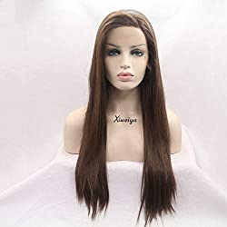 Xiweiya Long Silky Straight Hair For Women Natural Brown Side Part Synthetic Lace Front Wigs Heat Resistant Mermaid Hair Replacement Wigs Glueless Soft Lace Wigs Full Hair Wigs