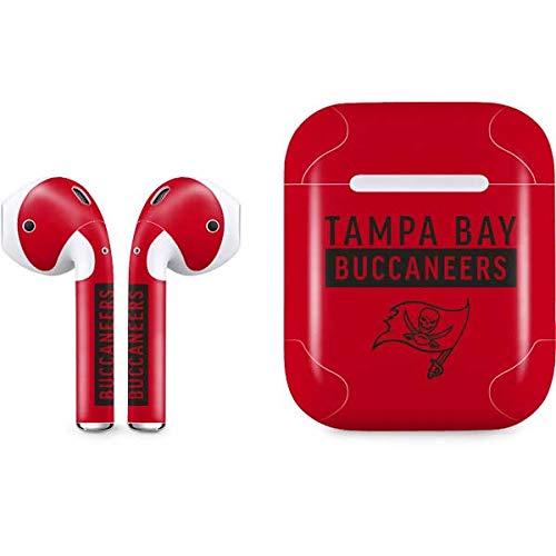 (Skinit Tampa Bay Buccaneers Red Performance Series Apple AirPods Skin - Officially Licensed NFL Audio Sticker - Thin, Case Decal Protective Wrap for Apple AirPods Gen 1)
