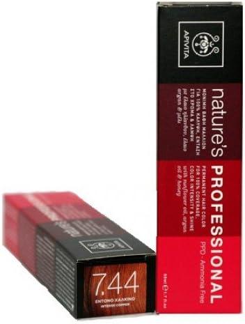 Apivita Natures Professional Hair Color, 50 ml (el desarrollador vende extra) (cobre intenso 7.44).
