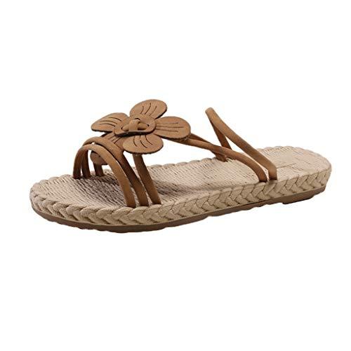 (Women's Cross Open Toe Flat Sandals AmyDong Ladies Summer Beach Rome Slipper Strap Vine Grass Shoes)