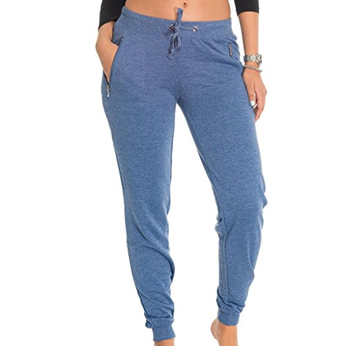 (E177P-HD) Coco-Limon Fleece Womens Jogger, Long, Zipper Pockets, Small, Denim (Adult 6 Pocket Pant)