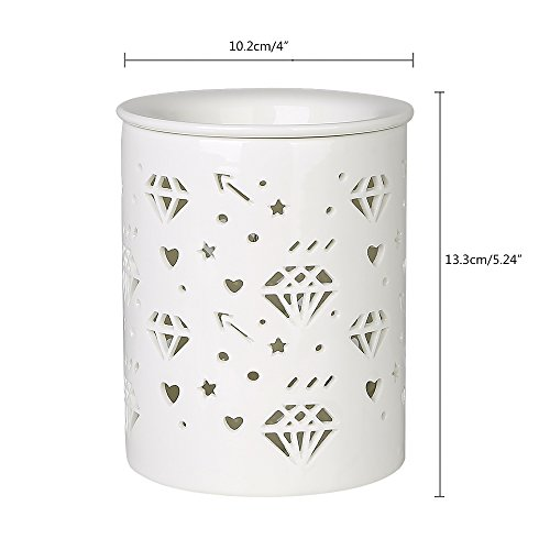 COOSA Ceramic Diamond Pattern Oil Warmer Electric Incense Wax Tart Burner Fragrance Candle Wax Warmer Night Light Aroma Decorative Lamp for Home Office Bedroom Living Room Gifts & Decor