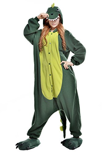 Newcosplay Warm Anime Costume Sleepsuit Adult Cosplay Dress Onesies Pajamas (M, Green dinosaur)