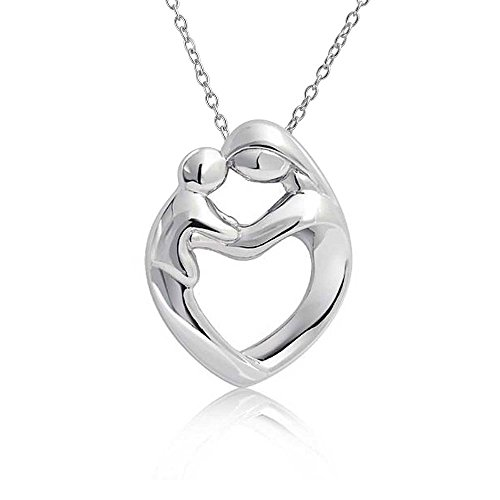 Mother Child Heart Necklace - Mother Child Heart Shaped Pendant Rhodium Plated Necklace 18 Inches