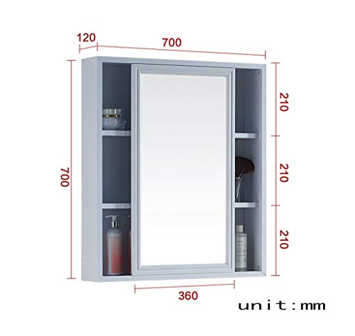 vertice Bathroom/Kitchen Accessories 700 x 700Mm,800 700Mm Space Aluminum Mirror Cabinet Fashion -