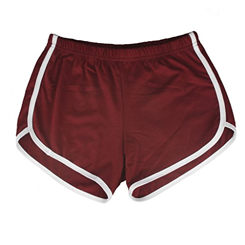 Yoga Gym Sport Shorts Workout Running Short Pants for Women No Drawstring Solid Color Dolphin Shorts (Female Gym Shorts)