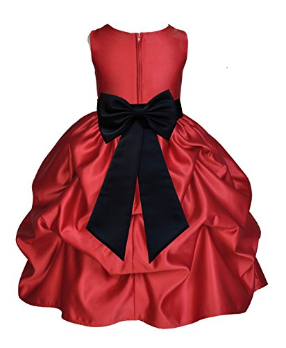 ekidsbridal Apple Red Satin Bubble Pick-up Flower Girl Dress Junior Bridesmaid Dress 208T 8