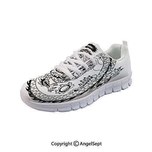 Fashion Sneakers Asian Japanese Swirled Dragon Heritage Outdoor Gym Shoes