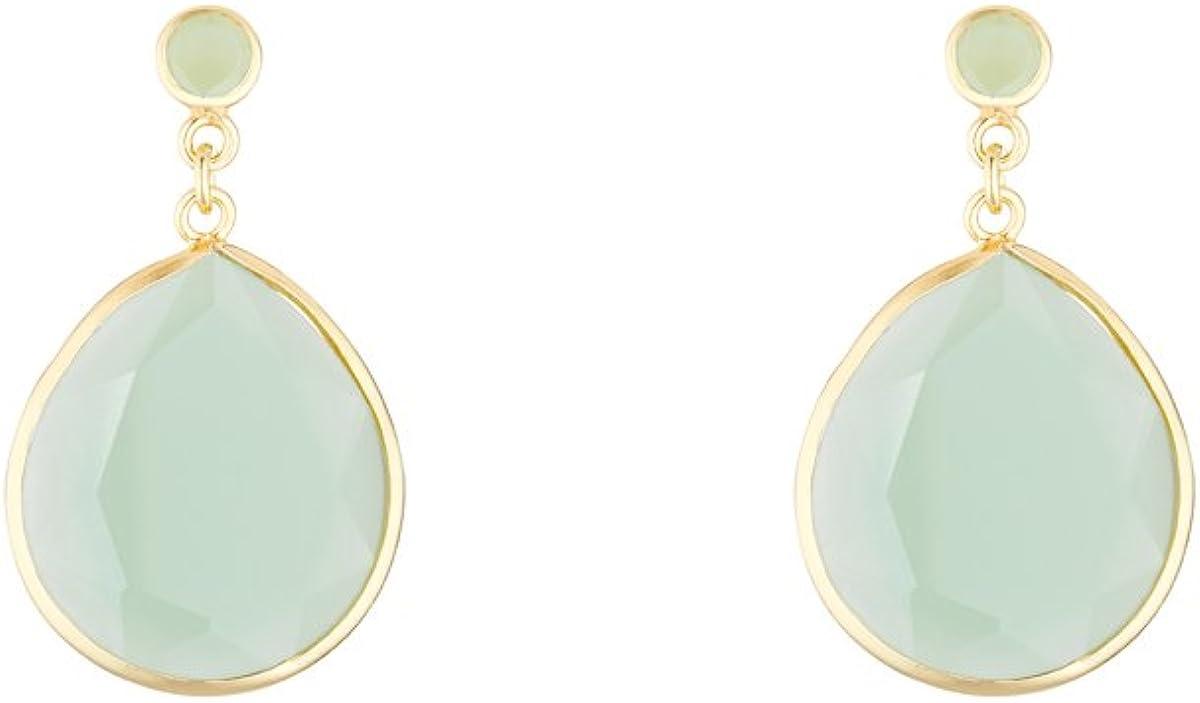 Córdoba Jewels | Pendientes en plata de ley 925 bañada en oro con piedra semipreciosa con diseño Lux Gota Jade Gold