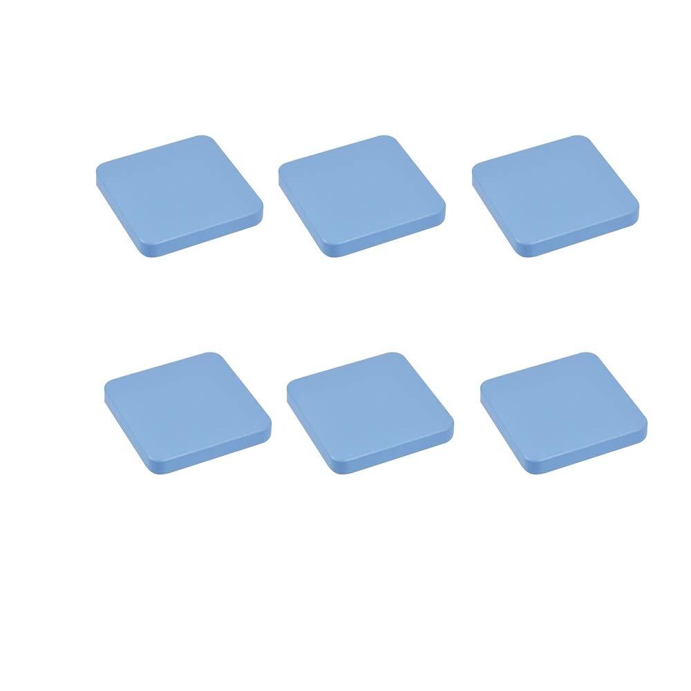 6 Un. TIRADOR Pomo Mueble BEBÉ cuadrado madera lacada azul 70X70MM