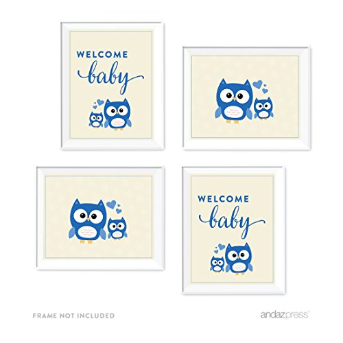 Price comparison product image Andaz Press Boy Owl Baby Shower Collection,  Party Signs,  Graphic Decorations,  8.5x11-inch,  4-Pack