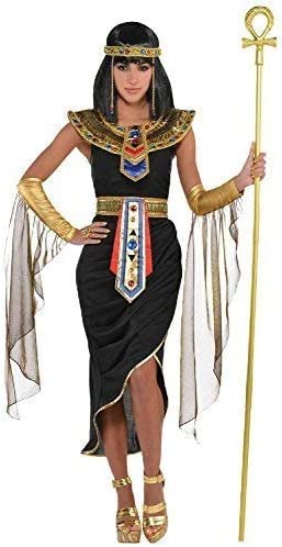 Egyptian Goddess Cleopatra Black Fancy Dress Party Halloween Costume Outfit uk
