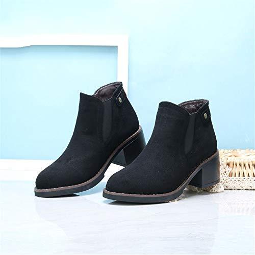 Invierno Dama Moda 6cm Zapatos Pendiente Ingles Tacon Syw Mujer Con De Casuales Black AnRxdTwq