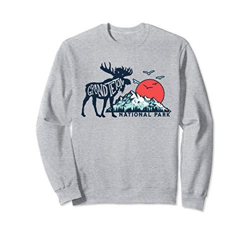 Grand Teton National Park Moose & Mountains Typography Sweatshirt (Grand National Sweater)