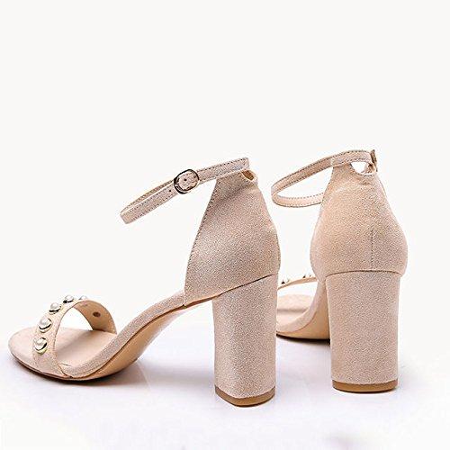 Confort Boucles Coréenne Mode Beige DKFJKI Hauts Talons pour Femmes étudiant Chaussures Version xqnzp0vq