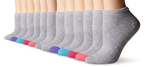 Fruit of the Loom Women's 12 Pack Premium Soft Spun No Show Socks, Grey/Multi Heel/Toe, Shoe: 4-10 $14.99 (reg. $19.99)