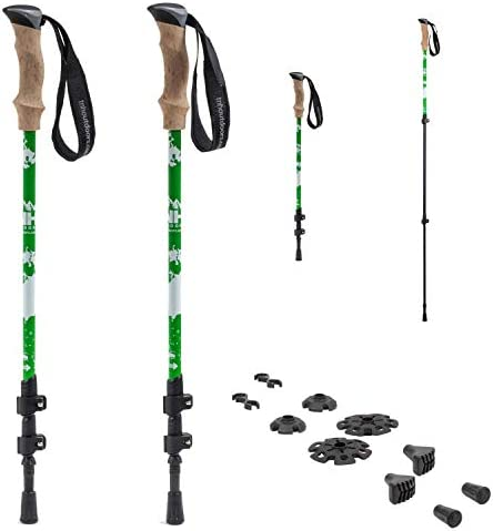 TNH Outdoors Trekking Poles – Lightweight, Aluminum Hiking, Walking Running Sticks with Natural Cork Grips, Quick Locks, 4 Season All Terrain Accessories and Carry Bag