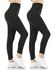 Gnpolo Womens Black High Waisted Leggings Pack Soft Slim Tummy Control Trousers Yoga Pants