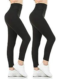 Womens Black High Waisted Leggings Pack Soft Slim Tummy Control Trousers Yoga Pants