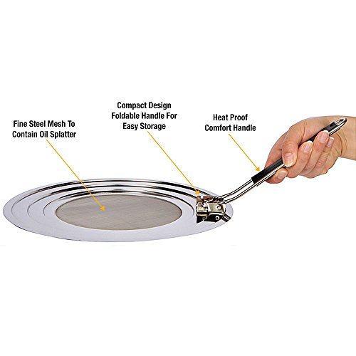 YaeKoo Pro Chef Kitchen Stainless Steel Cooking Grease Mess Eliminator Splatter Screen Guard for Frying Crisp Bacon