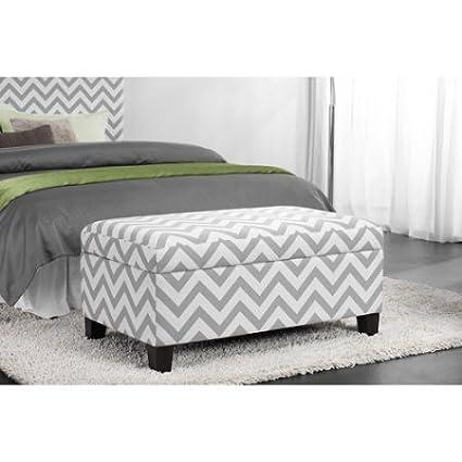 Amazon.com: Bedroom Furniture, Chevron Storage Ottoman, Gray ...