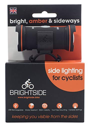 Brightside. Side Lights for Cyclists. Bright, Amber, Rechargeable, 36hr Battery 2.3oz Bike - Amber Bicycle