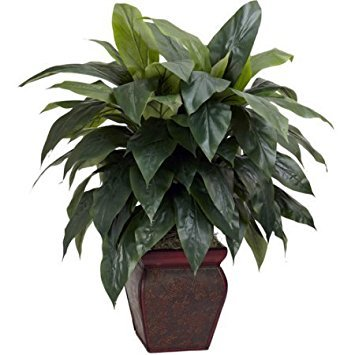 Natural Beauty With Large Green Leaves Cordyline with Decorative Vase Silk Plant, Green (Green Vase Large)