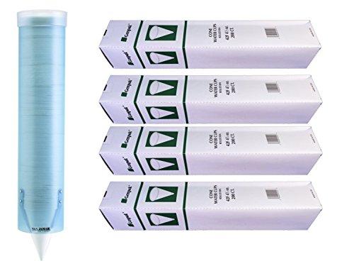 MC Distributors Cone Cup & Dispenser Bundle - Genpak Compostable 4.5 oz. Paper Cone Water Cup 4-Pack & San Jamar C3165FBL Wall Mount Dispenser Tube