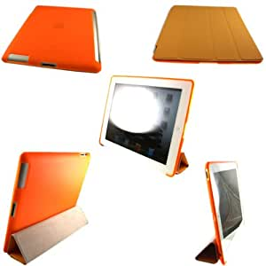 Magnetic Smart Cover And Gel Cubrir Caso Piel Para Apple iPad 2 2nd Generation / Orange