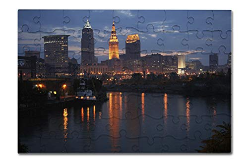 Cleveland, Ohio - Cleveland Skyline at Dusk - Photograph A-92983 (8x12 Premium Acrylic Puzzle, 63 Pieces)
