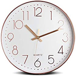 Tebery 12-Inch Silent Modern Wall Clock Battery Operated Decorative Wall Clocks for Living Room Home Office School(Rose Gold)