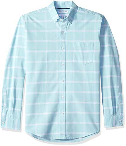 Amazon Essentials Men's Regular-Fit Long-Sleeve Windowpane Pocket Oxford Shirt, Aqua, X-Large