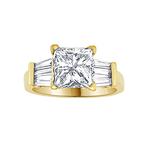14k Yellow Gold, Lady Engagement Ring Princess Cut Created CZ Crystals 8mm 3ct Size 5.5 by GiveMeGold