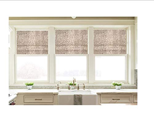 Faux Roman Shade Valance Custom Made in Taupe Grey and White Zoey Cove Print, 100% Cotton Fabric. Custom Made. Fully Lined. Ready to Hang (Window Cove)