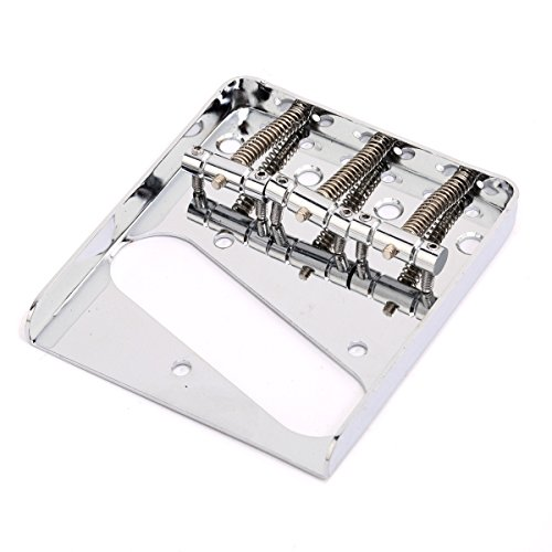 Musiclily Edged Telecaster Bridge Assembly with 3 Saddles for Fender American/Mexican Vintage Telecaster Style, Chrome ()