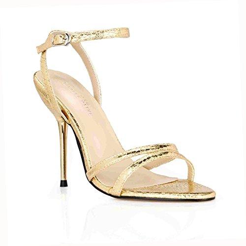 Piel ZHZNVX Lattice Minimalista Que de Mujeres Cinturones y fueron Banquetes de Verano Nuevo Las de Oro de con Zapatos Interesante Mujer Serpiente Zapatos de Sexy Sandalias Hierro 39 HrHxg1