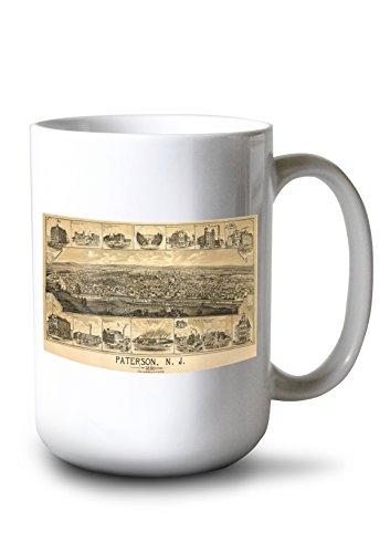 Lantern Press Paterson, New Jersey - (1880) - Panoramic Map (15oz White Ceramic Mug)