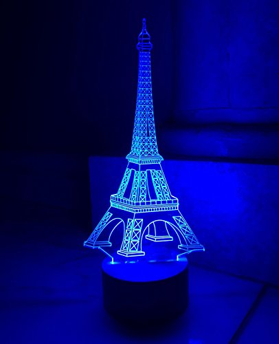 3D Optical Illusion Desk Lamp Night Light for Home Decor - Blue Color 3D LED Glow Light Decoration Gift (Eiffel (3 Box Holiday Gift Tower)