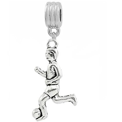 SEXY SPARKLES Soccer Player Bead for Snake Chain Charm Bracelet
