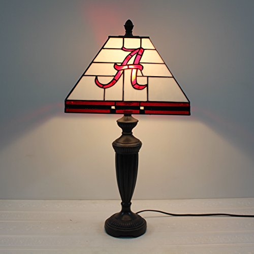 Royal- 12-inch NCAA Alabama Crimson Tide Alphabet A Stained Glass Square Table Lamp