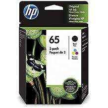HP 65   2 Ink Cartridges   Black, Tri-color   N9K01AN, N9K02AN (Renewed)