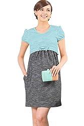 Sweet Mommy Two Tone Summer Knit Maternity and Nursing Dress YEM