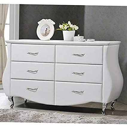 Amazon.com: Hebel Enzo 6 Drawer Faux Leather Dresser | Model ...