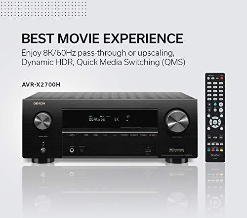 Denon AVR-X2700H 8K Ultra HD 7.2 Channel (95 Watt X 7) AV Receiver 2020 Model - Built for Gaming, Music Streaming, 3D Audio & Video, Alexa + HEOS