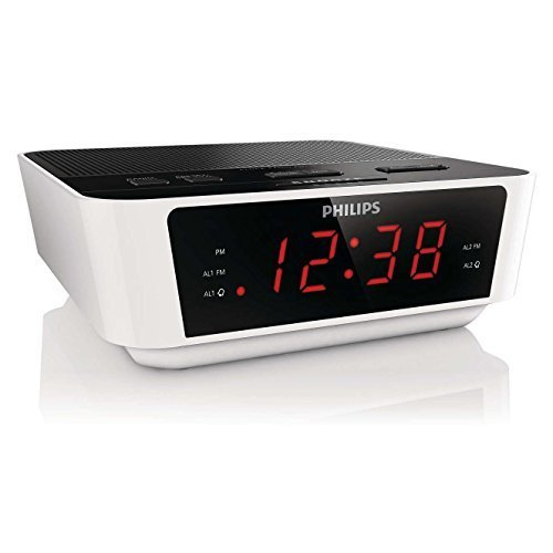 Philips AJ3116W White Digital Tuning Dual Alarm Clock FM Radio with Sleep Timer