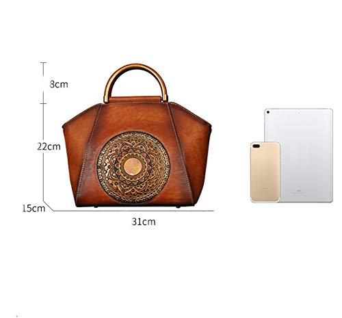 Travel Red Party Handbag Resistant Breathable Women shopping Retro Material Shoulder color mbjdfx Cowhide Diagonal wear Ay Brown SwqYAaRx