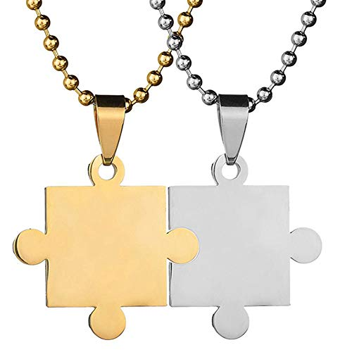 AJZYX Free Engraving Personalized Custom-Couples Necklace Titanium Steel Couple Puzzle Piece Pendant Necklace for Lover Friends BFF Gold with Silver Colors