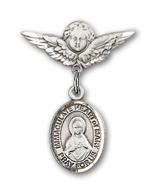 religiousobsessionのスターリングシルバーベビーバッジwith Immaculate Heart of Mary Charm and Angel With Wingsバッジピン   B00CDATBUU