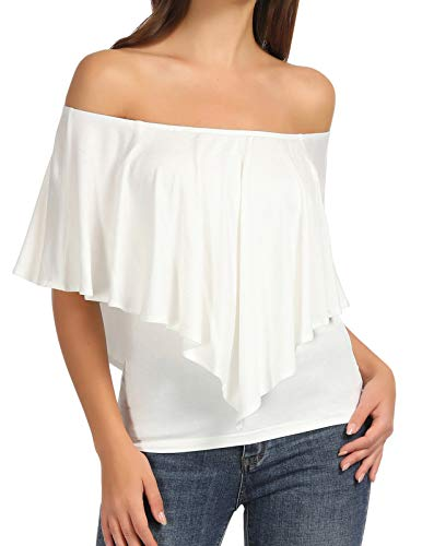 Women's Sexy Rayon Blouse Cold Shoulder Ruffles Layered Flounce Tops (M,1203#White)